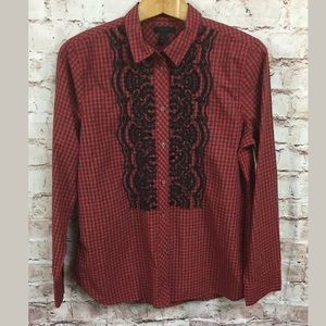 J.Crew 12 Red Blouse Plaid Holiday Embroidered